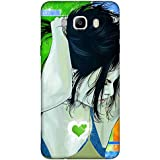 For Samsung Galaxy On8 Beautiful Girl ( Beautiful Girl, Nice Girl, Girl, Cartoon, Girl, Blue Background, Green Heart, Heart ) Printed Designer Back Case Cover By FashionCops