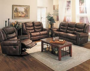 Sofa Loveseat Set Double Reclining Leather Nailhead