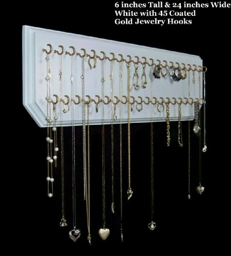 6X24-White 45-Gold, Necklace Organizer, Jewelry Holder, Hanging Necklace Display