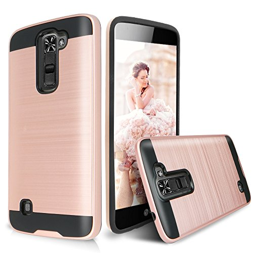 LG K10 Case, LG Premier LTE L62VL L61AL Case, Dual Layer Shockproof Tough Brushed Hybrid Armor Rubber TPU Drop Protection Case For LG K10/LG Premier LTE L62VL L61AL (2016) (Rose Gold) (Lg Tracfone Cases compare prices)