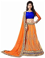 Vaidehi Fashion Women's Net Lehenga Choli (Orange)