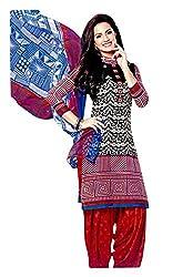 Rose Petals Un stitched Printed Cotton salwar suits for women with Chifon Dupatta