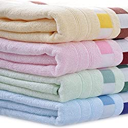 Moolecole 4-Pack: 27inches x 55inches 100% Bamboo Fiber Extra-Absorbent Bath Towels