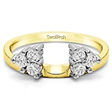 buy Three Stone Ring Wrap Enhancer With 0.25 Cts Of Diamonds In 10K Two Tone Gold