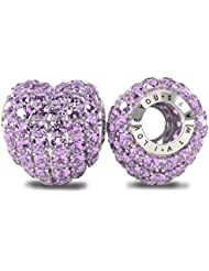 The Royal Collection - I Love You Always Sterling Silver 925 Plated Austrian Crystals Pave Bead Charm - Compatible...