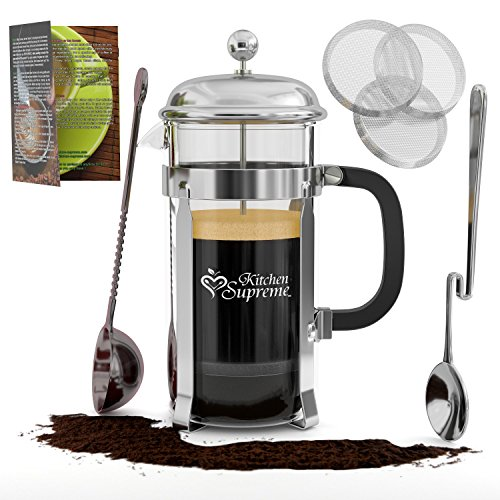 Best French Press Coffee Maker Cooks Illustrated : French Press Coffee & Tea Maker Complete Bundle 8-Cups, 34 Oz Best Coffee Press Pot with ...