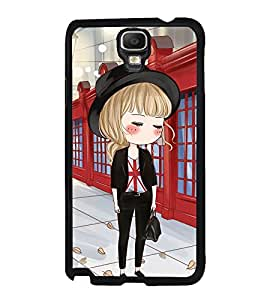 Fuson Premium 2D Back Case Cover Cute office Girl With Black Background Degined For Samsung Galaxy Note 3 Neo N7505