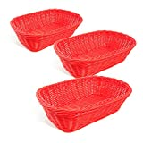 Colorbasket 31404-108 Hand Woven Waterproof Rectangular Basket, Red, Set of 3