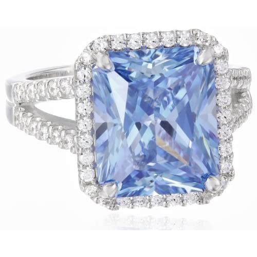 "[マイヤ パッシェロ] Myia Passiello ""Cocktail Ring"" Emerald Cut Swarovski Zirconia Fancy Blue Ring Size 7 リング 【並行輸入品】"