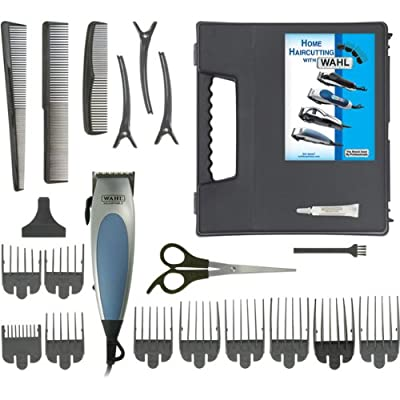 Wahl Corded Home Pro 22-Piece Haircut Kit - Self Sharpening Steel Blades, Taper Control, Ergonomic, Soft Touch Grip, 10 Guide Combs