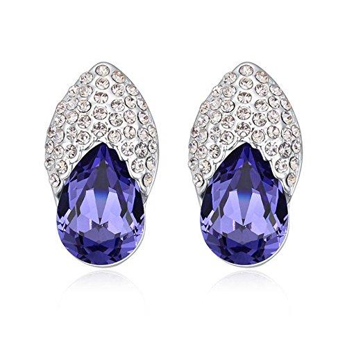 Alvdis One Pair Dance Shoes Style Swarovski Crystal Fashion Ear Ring Earrings, Purple