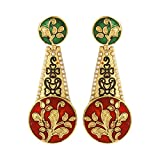 Dilan Jewels PURE Collection Multicoloured Antique Golden Meena Motive Earrings For Women