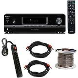 Sony STRDH130AV Receiver w/Power Strip, Wire and Two RCA Plug Bundle