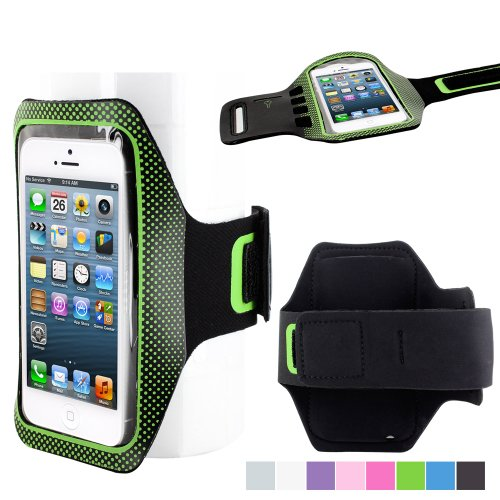 Skque® Sports Gym Exercise Dot Armband Running Pouch Case Holder For Apple Iphone 5/5S/5C, Green