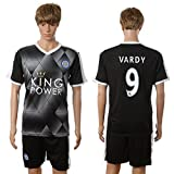 Mens League Leicester City FC 9 Jamie Vardy Home Football Soccer Jersey In Black For New Season Kit 2016 2017 S
