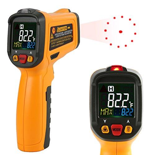 Thermomètre Infrarouge Janisa PM6530B Numérique Température Lasergrip Sans Contact   -50℃ à 550℃ Avec 12 Points Aperture Fonction Température Alarme Rapid Sight Lire Grand Ecran LCD