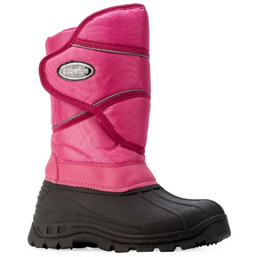 56A Womens Fuchsia Velcro Snow Winter Grip Sole Fleece Lining Boots Shoes Size 5 US