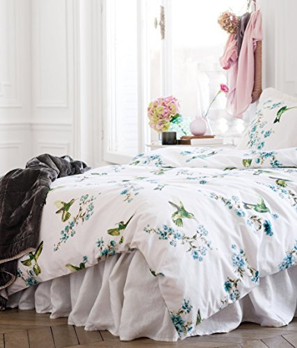 Hummingbird Print Duvet Quilt Cover 3Pc Set King 100% Cotton Bird Floral Turquoise front-61593