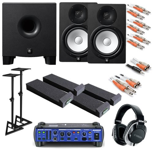Yamaha Hs8 Ultimate Bundle W/ Monitor Controller, Subwoofer, Stands, Studio Headphones & Cables
