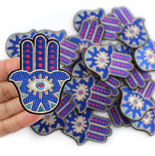 FairyMotion 1Pcs Blue Hamsa Hand Patch Iron On Evil Eye Yoga Patch Sewing Embroidered Applique For Jacket Clothes Stickers Badge Diy Apparel Perfect Patches