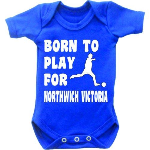 Born to Play Football per Northwich Victoria a maniche corte Baby Body Tutina Gilet crescere in Royal Blu e bianco motivo Blu royal blue 6-12 mesi