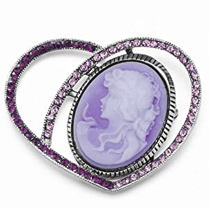 Pugster Antiquities Couture Elizabethan February Birthstone Heart Beauty Purple Cameo Lady Maiden Profile Vintage Amethyst Purple Swarovski Crystal Diamond Accent Brooches Pins