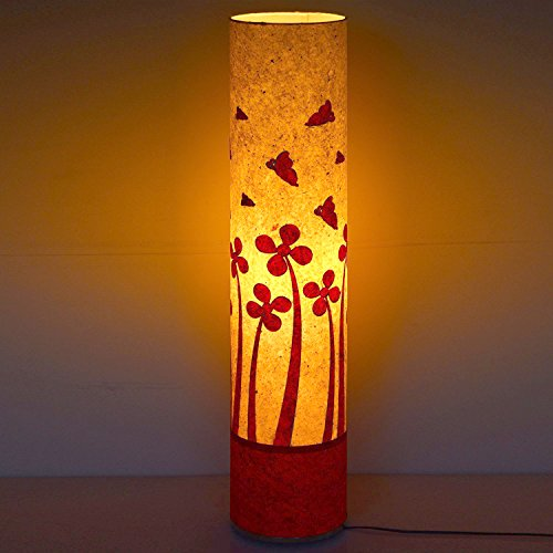 craftter-butterfly-on-flowers-white-and-red-cylinderical-artistic-floor-lamps-handmade-floor-lights