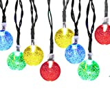Solar Outdoor String Lights, iDOO 20ft 30 LED Crystal Ball Pattern Fairy Solar String Lights for Outside Decor, Patio Roof, Balconies, Arbor, Wedding, Halloween party and etc - Multi Color