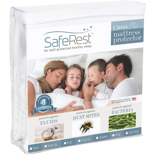 Best Review Of Twin Size SafeRest Classic Plus Hypoallergenic 100% Waterproof Mattress Protector - V...