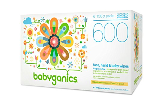 Babyganics Face, Hand & Baby Wipes, Fragrance Free, 600 Count (Contains Six 100-Count Packs)