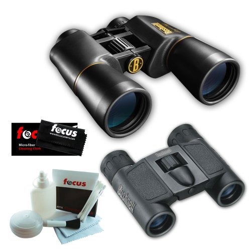 Bushnell 12-0150 10X50 Legacy Wp Wide Angle Binoculars + Powerview 8X21 Folding Roof Prism Binoculars + Accessory Kit
