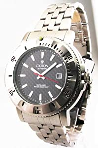 Mens Croton Steel Automatic 10 Atm Date Watch CA301124SSBK