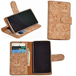 R&A Pu Leather Wallet Flip Case Cover With Card & ID Slots & Magnetic Closure For Lenovo A6000 Plus
