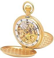Chapado en oro motor parado Doble Hunter Esqueleto suizo Relojes de bolsillo de Woodford