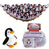 Stuffed Animal Hammock - Comes with FREE Plush Penguin - Deluxe Toy Hammock Set for Organizing Your Childs Plush Toys - EpicKids - White