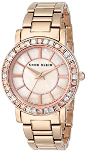 Anne Klein Women's AK/1670PMRG Swarovski Crystal Accented Rose Gold-Tone Bracelet Watch