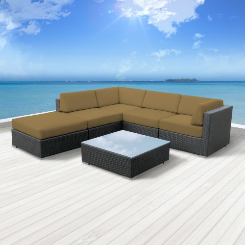 Luxxella Patio Beruni Outdoor Wicker Furniture 6-Piece All Weather Couch Sectional Sofa Set, Dark Beige photo