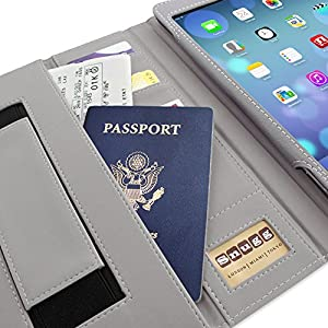 Snugg iPad 2 Card Slot 'Executive' Leather Case in Blue Denim - Flip Stand Cover with Card Slots, Pocket, Elastic Hand Strap and Premium Nubuck Fibre Interior - Automatically Wakes and Puts the Apple iPad 2 to Sleep