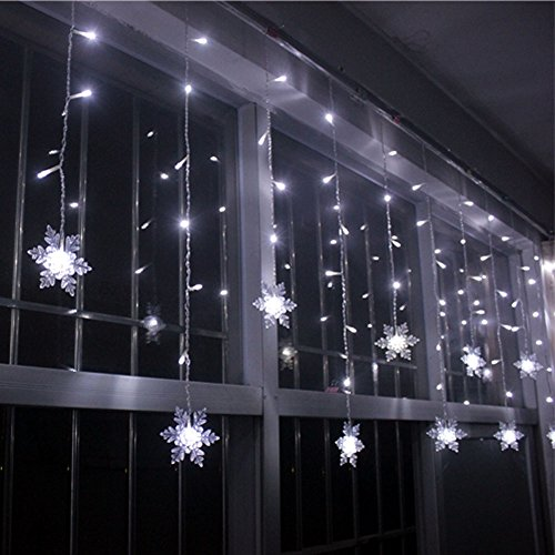 Liangsm 3 5m 96 led fairy lights curtain icicle starry for Decoration exterieur led