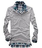 (ドートル オトゥール) D'autres hauteurs 3色 4サイズ レイヤード フェイク インナー カジュアル メンズ ポロシャツ 長袖 半袖 (28長袖グレーXL)