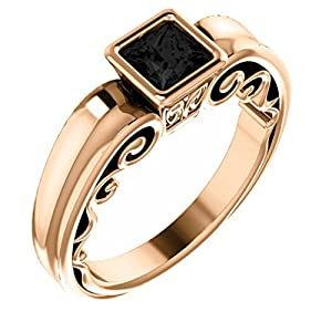 18K Rose Gold Princess Cut Black Diamond Engagement Ring - 1 Ct.