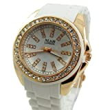 Branded Fashion Unique Wrist Watch Best Christmas Birthday Gift Ideal Women's Girl's Watches at Discounted Sale Price - MAB London White & Rose Gold Watch with Rhinestones Cyrtsals