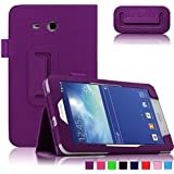 Infiland Folio PU Leather Case Cover for Samsung Galaxy Tab 3 Lite 7.0 7'' T110 T111 (NOT FIT FOR Samsung Galaxy Tab 3 7.0 T210) (Tab 3 Lite 7.0 7'' T110 /T111, Purple)