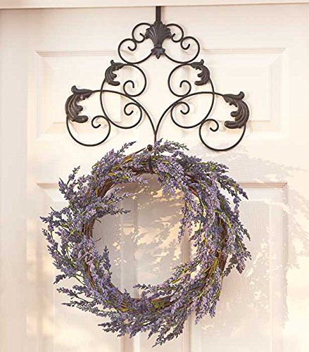 Elegant Seasonal Scrollwork Holiday Metal Wreath Holder Hanger Hook Wall Door Hanging Decor