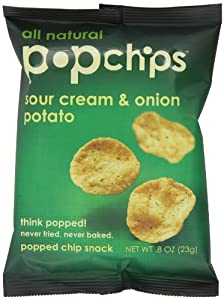 Popchips potato chips SOUR CREAM and ONION, single serve 0.8 Ounce (Pack of 24)