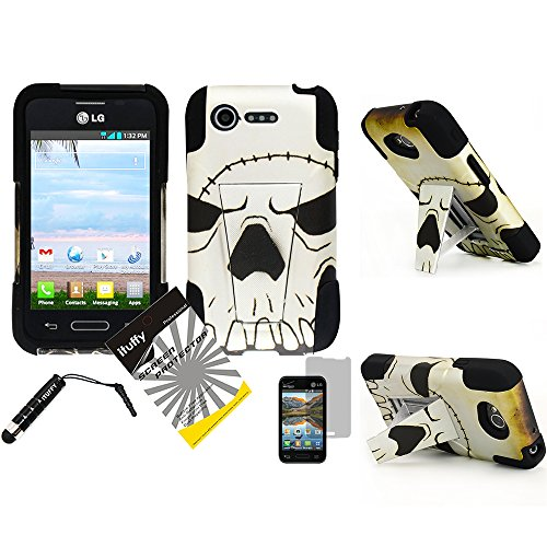 3 items Combo: ITUFFY(TM) LCD Screen Protector Film + Mini Stylus Pen + 2 tone Design Dual Layer KickStand Tuff Impact Armor Hybrid Soft Rubber Silicone Cover Hard Snap On Plastic Case for Verizon LG Optimus Zone2 VS415PP / LG Optimus Fuel L34C (Scar Skull - Black) (Optimus Fuel Rubber Phone Case compare prices)