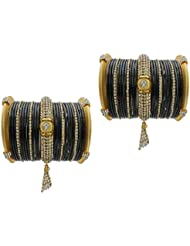 Black Jhumki Bridal Chura Wedding Bangles Chuda By My Design(size-2.4)