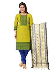 Ritu Creation Women's New Cotton Stitched Straight Fit With Fancy Silk Printed Dupatta(Green)