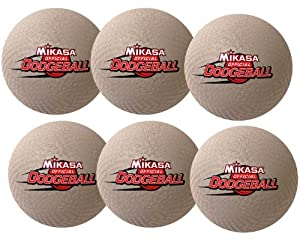 "Mikasa Official 8.5"" Rubber Dodgeball Set of Six"