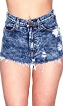 Acid Wash High Waisted Shorts in Blue -S